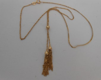 14K Solid Yellow Gold twisted rope necklace