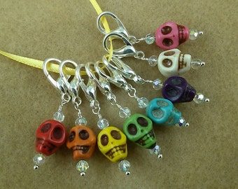 Carved Stone RAINBOW SKULLS Stitch Marker Set for Knit or Crochet - Lobster Clasp
