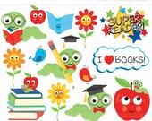 ON SALE - Digital Clipart - The Little Book Worm Clip Art / Digital Clipart - Instant Download