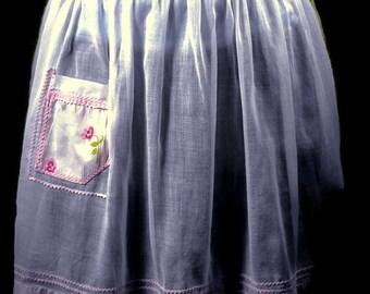 Vintage PInk Apron - Mid Century Pale Pink Apron, Retro Pink Apron, Half Apron, Hostess Apron, Pretty Pink Apron,
