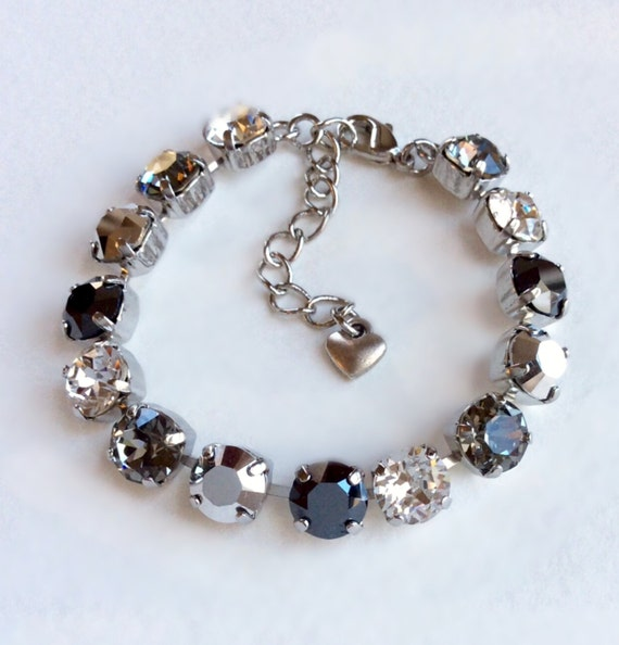 Swarovski Crystal 8.5mm Bracelet - Black Diamond, Clear Crystal, Silver, & Hematite - Classy - Designer Inspired- FREE SHIPPING