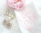 Handkerchief, Mid Century, Monogrammed Ladies' Handkerchief, Embroidered Design, Bride to Be, Wedding Gift