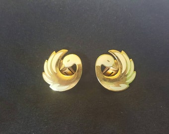 Vintage 80s Fish and Crown Novelty White Painted Swan Faux Gold Clip On Earrings