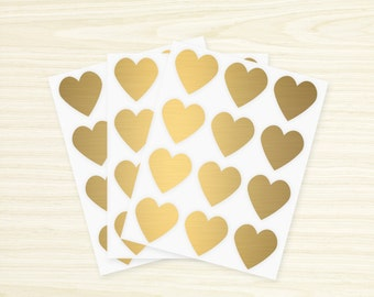 Heart Stickers - 36 Gold