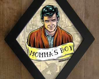 Norman Bates  from Psycho ( Alfred Hitchcock). Momma's boy diamond framed print.
