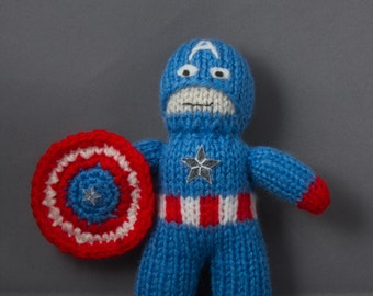 Captain America, Hand Knitted, Toy, Plushy, Mascot