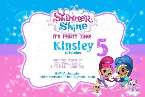 Shimmer and Shine Invitations digital image   Shimmer and shine invite   Genie birthday invitation