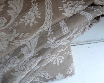 """Vintage FRENCH DAMASK TICKING, Beige with Light Beige Imperial, Wreath and Floral Pattern. long 80cm x wide 160cm or long 31.5 """" x wide 63 """""""