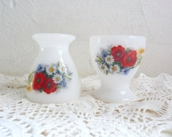 2 Vintage French Floral MILK GLASS Egg CUPS, Arcopal, Opaline Glass with Floral Pattern. Poppy Flowers and Daisies.