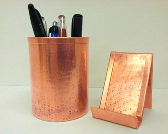 Combo SQCO1110 Vertical Square Hammered Copper Pen Pencil Holder Business Card