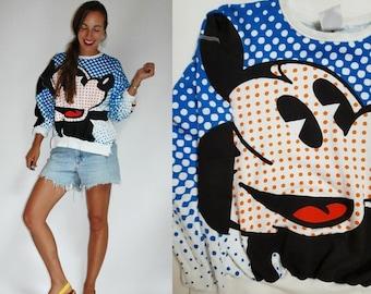 SHOP IS AWAY 1980s / 1990s Mickey Mouse Pop Art Polka Dot Sweatshirt