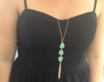 Druzy Tassel Necklace // Druzy Necklace // Long Tassel Necklace // Triple Drop Druzy Tassel Necklace // Druzy Statement Necklace