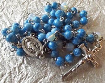 Snowflake Blue Glass Rosary