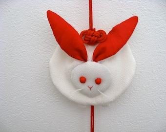Rabbit Wall  Hanging,kimono fabric,chirimen zaiku,