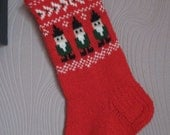 Small Hand knitted Christmas Stockings Red Grey White Yellow Green with snowmen snowflakes trees deer  gnomes ornament