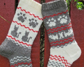 """WILL SHIP IN 2018! Pet Christmas Stockings 16"""" For Pets Personalized Hand knit Wool White Dark Gray Beige Moss Green Cats Dogs Paws"""
