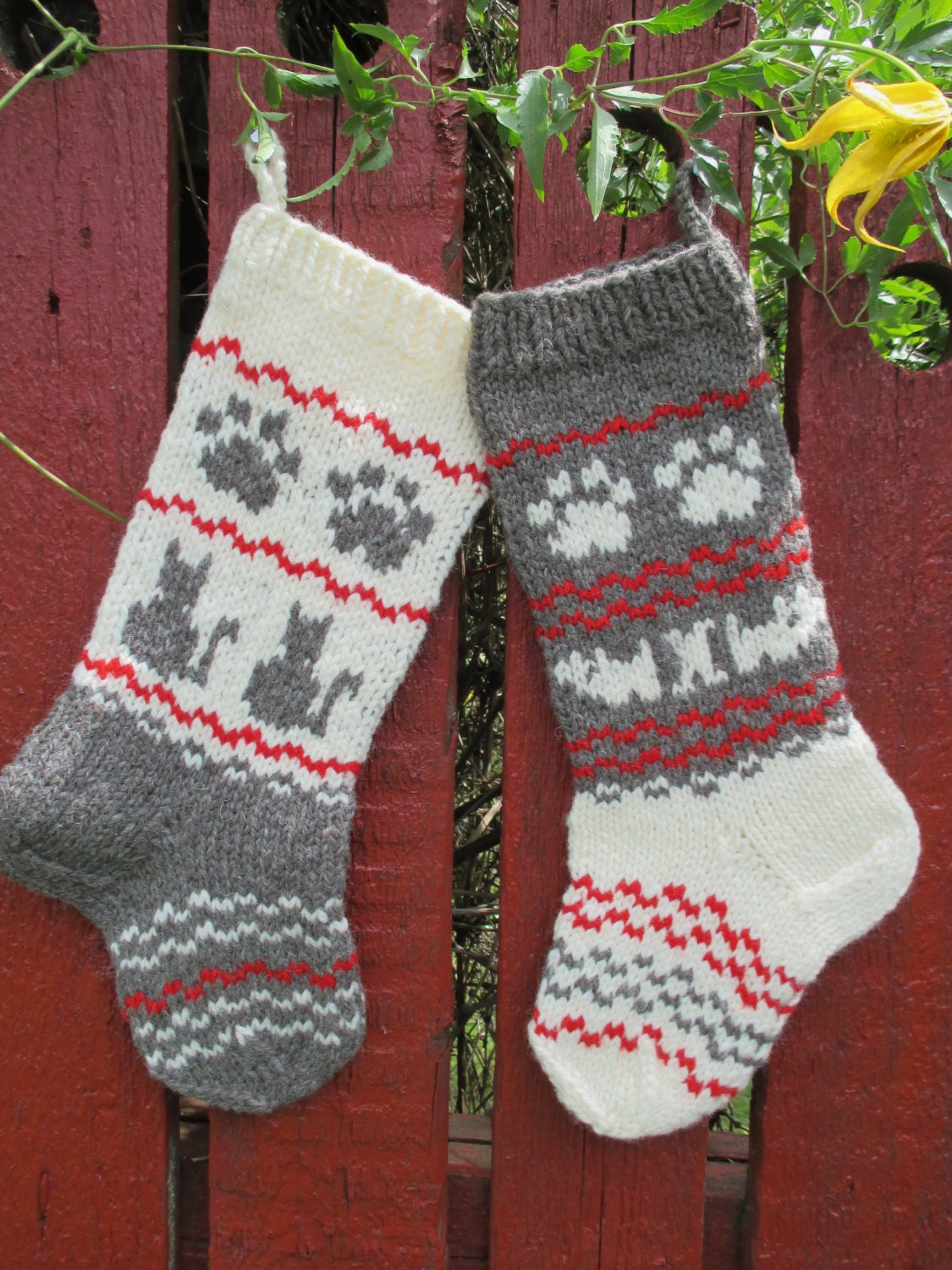 Hand Knit Christmas Stockings for Pets Cats and Dogs