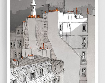 In an Old House In Paris (grey version) - Illustration Fine Art Print Prints Posters Home Decor Architectural Drawing Facade Paris rooftops
