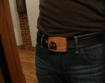 Pac-Man Ghost - 8-Bit Wood Belt Buckle