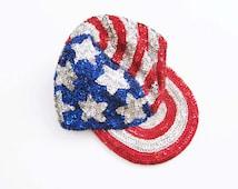 USA sequin baseball cap / American Flag Hat / 90s Snapback / American Flag Clothing