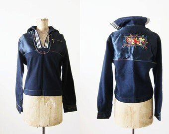 Vintage US Navy Middy Shirt / 1950s Sailor Jacket / 50s Souvenir Jacket / Embroidered Dragon / Liberty Cuffs