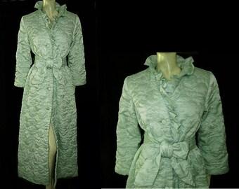 Luxurious Vintage 60s Quilted Robe Ruffled Watercress green robe made in hong kong robe designer robe 60s robe glamorous robe luxury robe