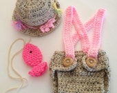 Newborn Fishing Hat and Diaper Cover ,Suspenders Set,Fishing ,Baby Girl Hat ,Baby Girl Clothes,Coming Home Outfit,Newborn Photo Prop ,