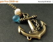 VALENTINE SALE Anchor Pendant Necklace. Sailor Necklace in Bronze with Turquoise Teardrop and Pearl. Handmade Jewelry.