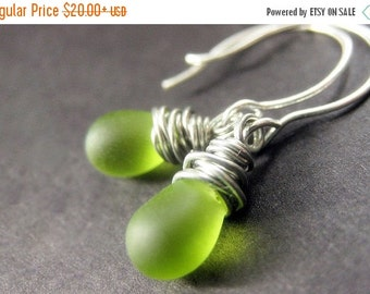 BACK to SCHOOL SALE Sterling Silver Wire Wrapped Earrings - Grass Green Frosted Teardrop Earrings. Handmade Jewelry.