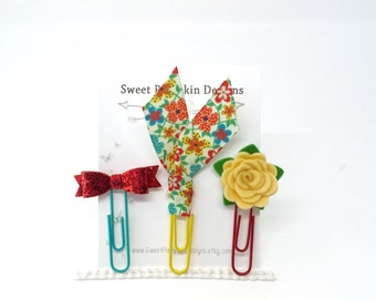Paper Clips - Planner Clips - Planner Accessories - Red - Turquoise - Yellow - Journal Bookmark - Bible Clip - Flower - Sparkle Bow