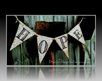 Hope Banner Made With Wood Pennants / Ready To Hang / Bunting / Garland / Handmade In The USA