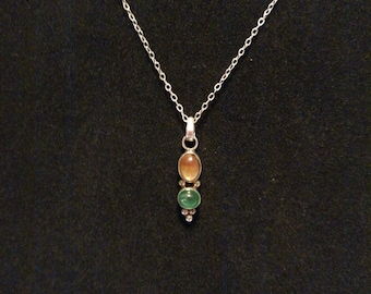 Women's Sterling Silver Necklace Yellow & Green Glass Cabochon