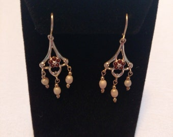 Simulated Ruby and Pearl Chandelier Earrings