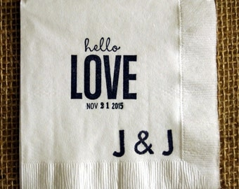 Hello Love Wedding Cocktail Napkins with Monogram and Date Set of 50, Get it Fast Rush Orders Available