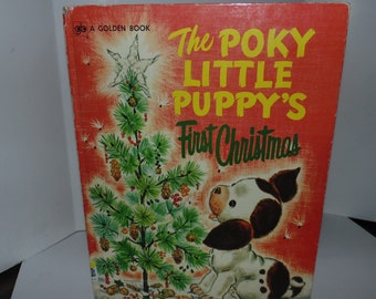 Vintage 1974 Poky Little Puppy's First Christmas Hardcover Golden book