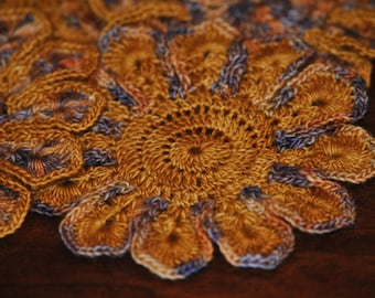 Crocheted Flower Coasters, Set of 4 Floral Coasters, Table Decoration, Home Decor Item, Housewarming Gift Basket Item