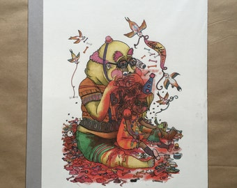 Lord Braineater - A3 Giclée print, drawing, dark humour, death, naive, outsider, visionary, folk.