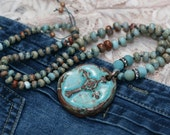 RESERVED FOR LAURA Artisan Floral Ceramic Necklace n8- blue boho knotted necklace . beaded bohemian Celtic cross pendant bead