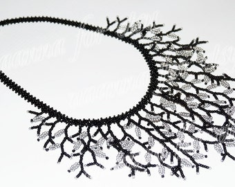Necklace with black and silver leaves