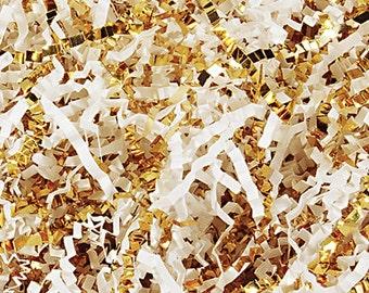 Crinkle Cut Paper Shred- Basket Filler- White/Gold Mix