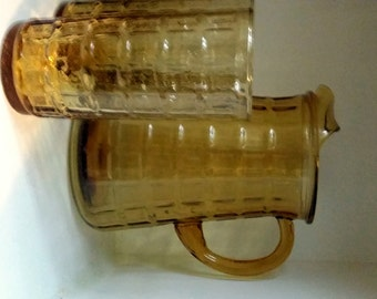 Amber Glass Pitcher, Anchor Hocking Pitcher,