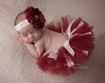 Newborn tutu, Newborn tutu set, Baby tutu, Baby tutu set, Tutu set, Newborn Photo prop, Baby photo prop, Burgundy tutu set, Photography prop