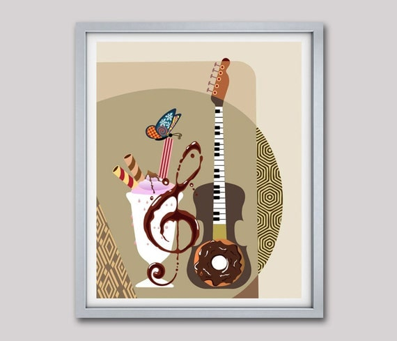 Music Inspired Wall Decor : Guitar art painting pop music inspired gift