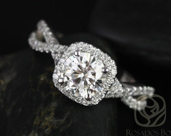 Josephine 7mm 14kt White Gold Round F1- Moissanite and Diamonds Twisted Cushion Halo Engagement Ring (Other metals and stones available)
