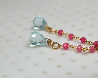 Dainty aquamarine earrings Gemstone teardrop earring Delicate ruby rosary chain earrings Long dangle drop earring Briolette linear earrings