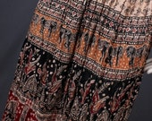 Broomstick skirt Maxi skirt gypsy bohemian cream black burgundy Indian women L large