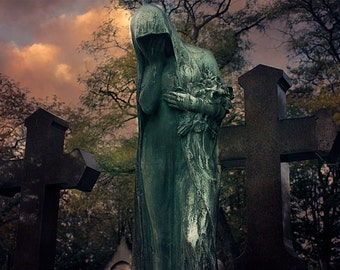 Paris Cemetery Photograph - Print of Photo Canvas, Travel Photography, Pere Lachaise Cemetery, gothic statue, Catholic, Religious Art