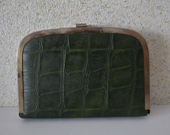Green leather clutch purse, vintage Japanese handbag