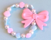 Kawaii Mermaid - Pink and Blue Shell and Faux Pearl Stretch Bracelet with Pastel Bow Charm