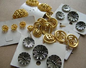 Vintage Button Destash - Button Lot - Metal Buttons - Vintage Metal Buttons - Vintage Buttons